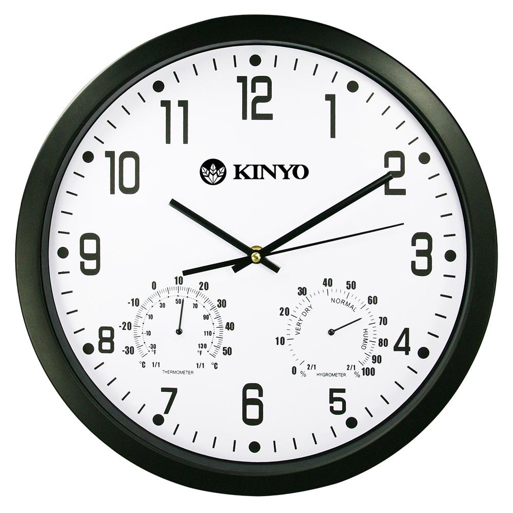 KINYO 溫濕度計掃描靜音14吋掛鐘(CL130)