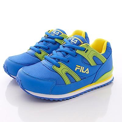 FILA頂級童鞋款-復古綁帶款-EI11Q-366藍綠(中大童段)T1