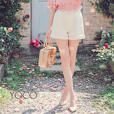 東京著衣-yoco 微甜百搭細腿效果口袋腰帶短褲-S.M.L(共二色)