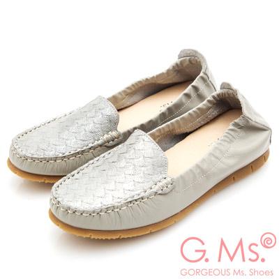 G.Ms. MIT系列-牛皮金粉編織繩紋莫卡辛鞋-淺灰色