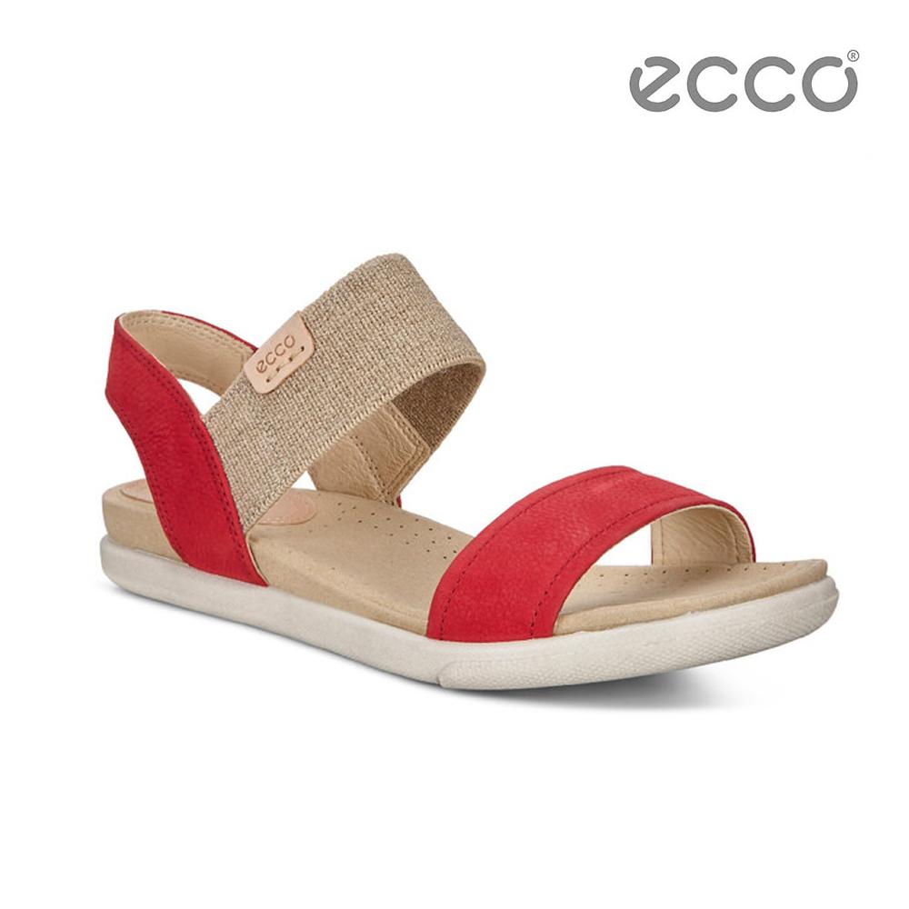ECCO DAMARA SANDAL 棉麻意象平底涼鞋-紅
