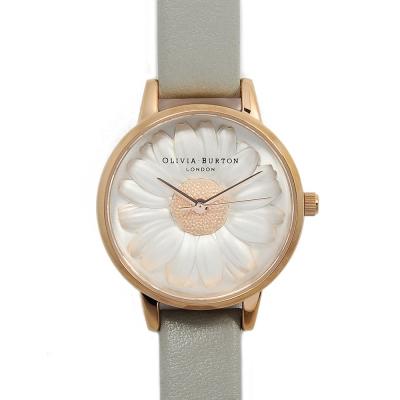 Olivia Burton 3D立體小菊花 灰色真皮錶帶 玫瑰金錶框手錶-30mm