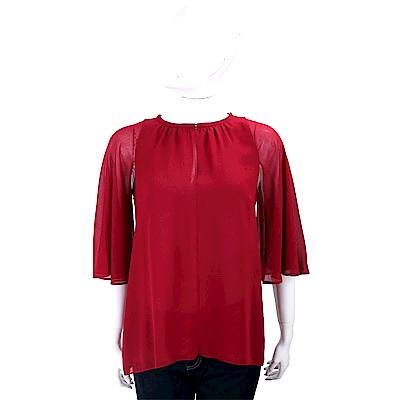 MARELLA 透膚荷葉袖紅色雪紡紗上衣