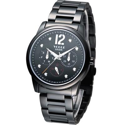 VOGUE 星期日期多功能時尚腕錶-黑/38mm