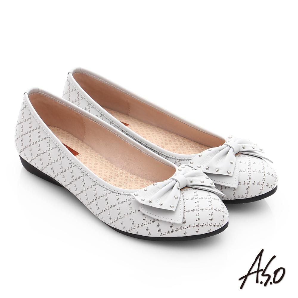 A.S.O 親漾漫步 真皮鉚釘蝴蝶結飾格紋平底鞋 淺灰色