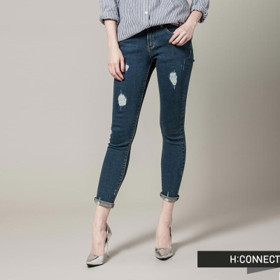 H-CONNECT-韓國品牌-女裝-不對稱破壞修身丹寧褲-藍