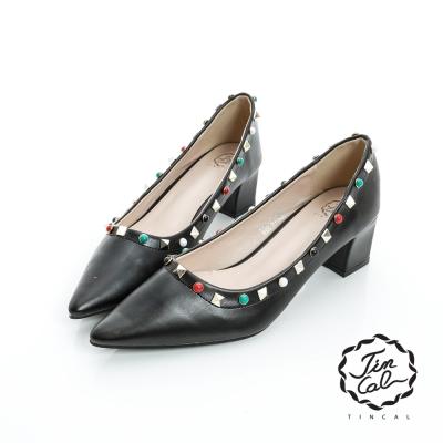 TINCAL-經典名伶-個性立體鉚釘圓珠尖頭跟鞋-黑色