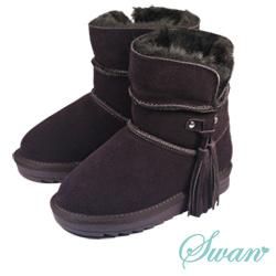 Swan天鵝童鞋-大童_流蘇雪靴-8690咖