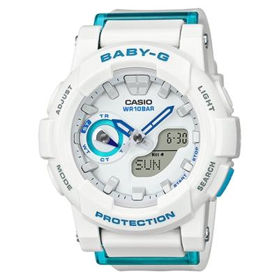 BABY-G亮眼搶色運動穿搭跑者設計概念錶(BGA- 185 FS- 7 A)-白x藍針/ 44 mm