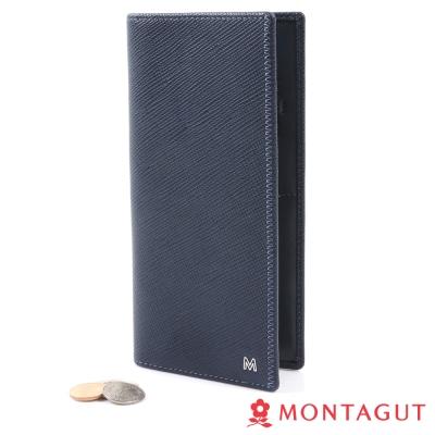 MONTAGUT夢特嬌-簡約雙切紋頭層牛皮長夾-15卡1照3夾-藍