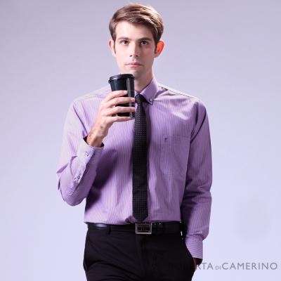 ROBERTA諾貝達 台灣製 合身版 簡約時尚 雙色條紋長袖襯衫 紫色