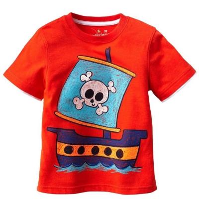 歐美風格設計 小童男童短棉T居家外出 海盜船 橘色