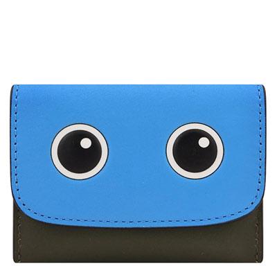COACH 藍色皮革壓紋三卡名片夾
