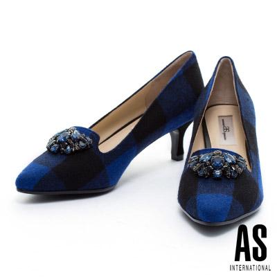 高跟鞋-AS-華麗鑽飾格紋毛呢尖頭樂福高跟鞋-藍