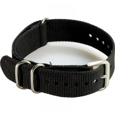 軍規尼龍帆布穿帶式錶帶  黑色