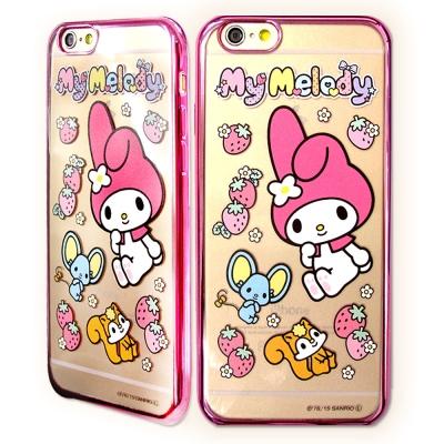 美樂蒂 iPhone 6/6s Plus 5.5吋電鍍彩繪軟式手機殼(草莓)
