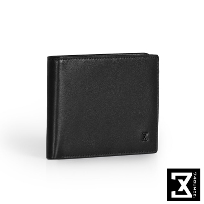 74盎司 Plain 真皮橫式短夾(零錢袋)[N-499]黑