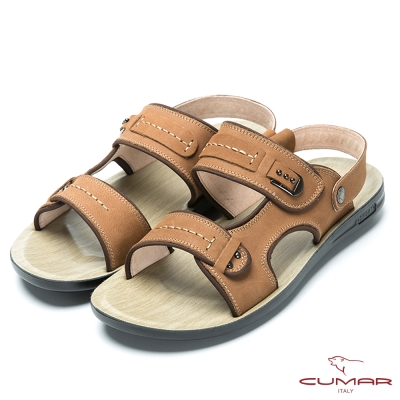 CUMAR 涼夏首選 磨砂皮帥氣涼鞋-棕色