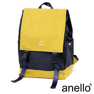 日本正版anello 高雅混色紋理休閒翻蓋式後背包 AT-H1151 藍黃拼接 NY
