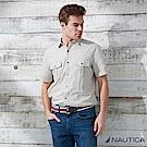 Nautica 簡約風細圈短袖襯衫 -米色