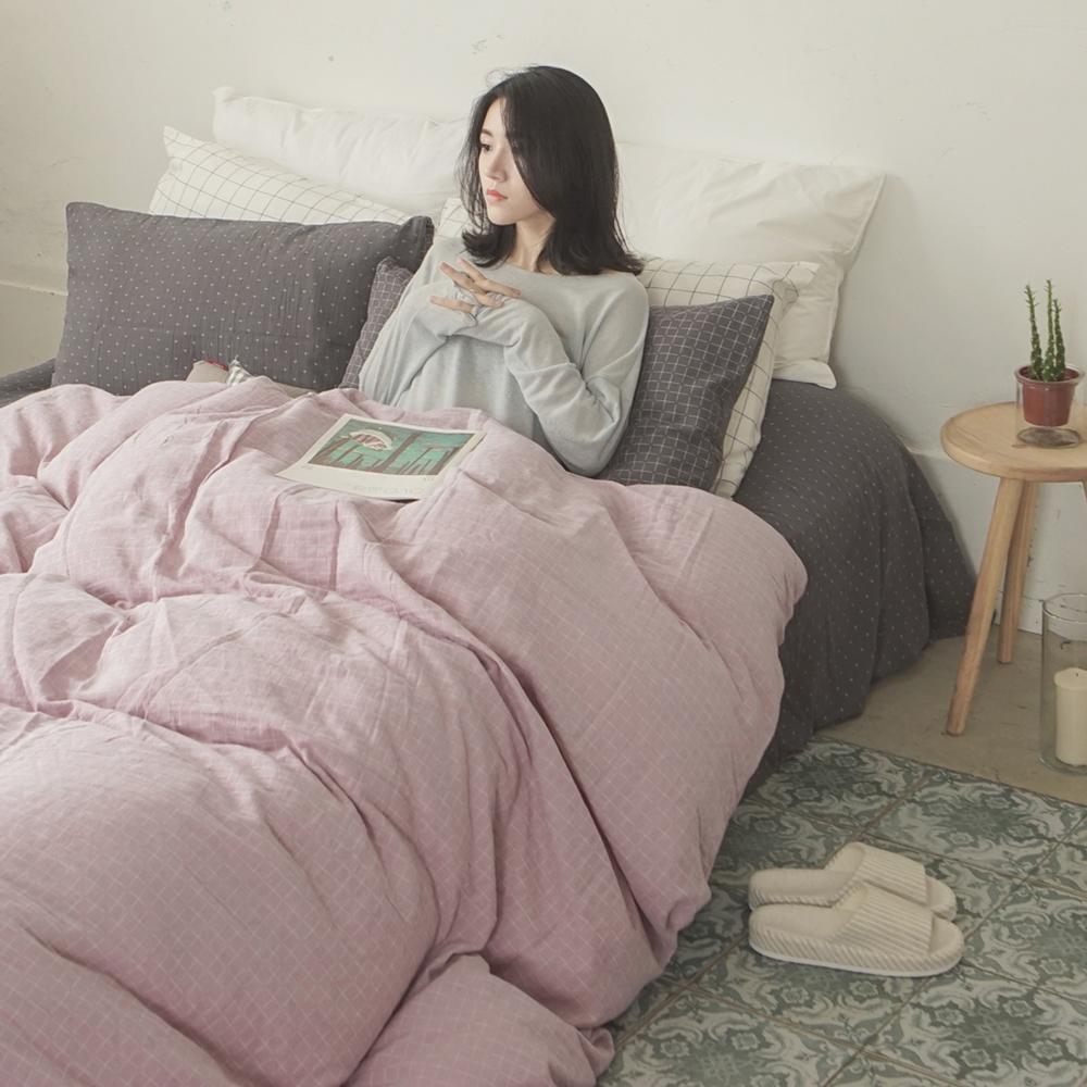 台灣製 長絨棉雙層紗 新疆棉 混搭/加大床包四件組- 十字深灰x十字淺紫 翔仔居家