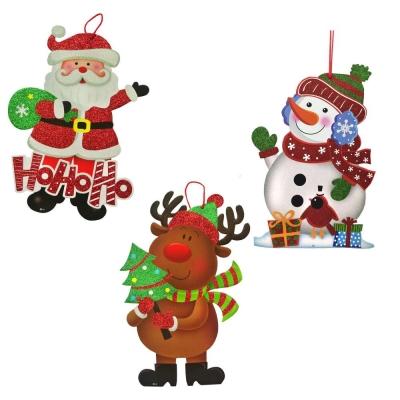 超Q聖誕雪人+麋鹿+聖誕老公公掛飾壁飾三入組
