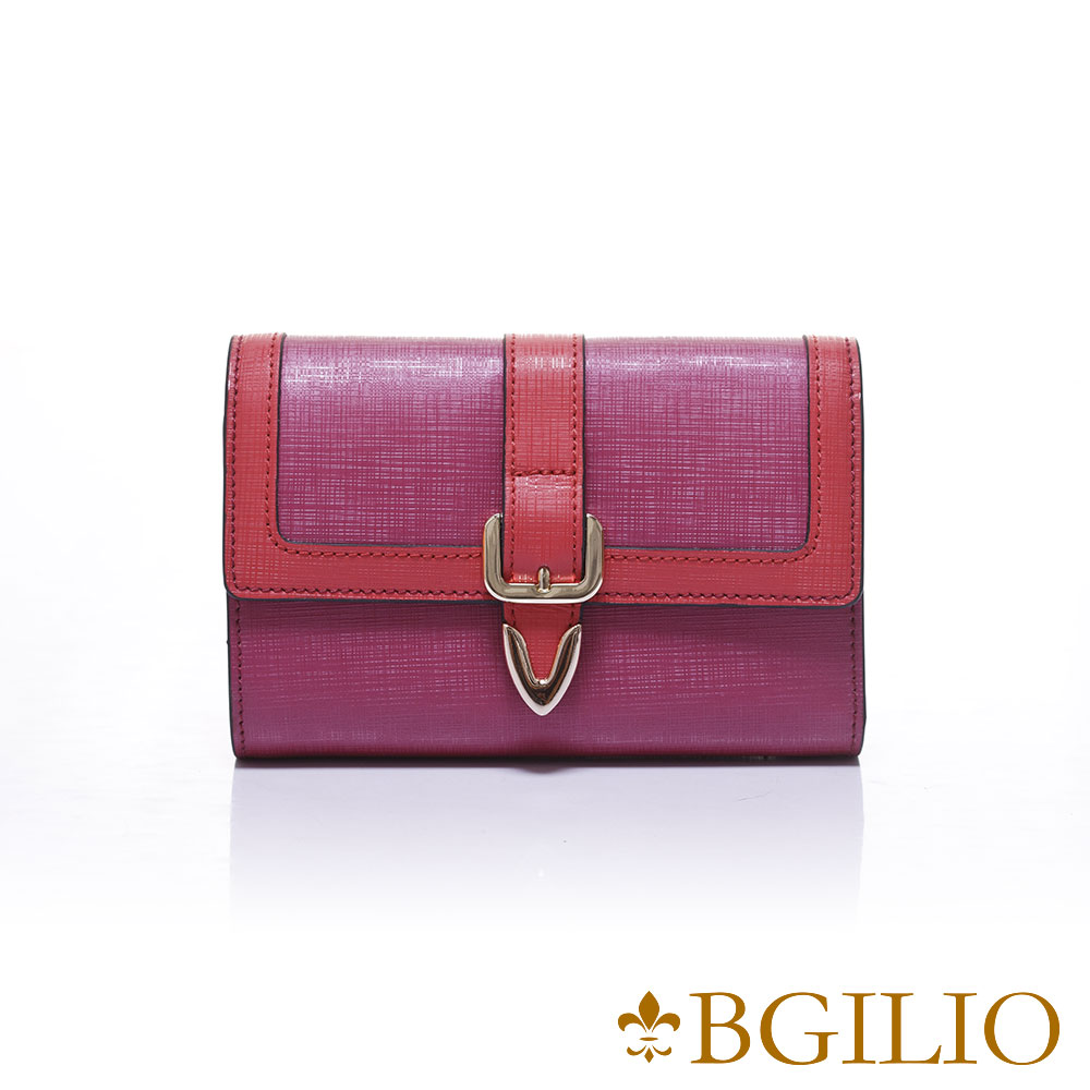 義大利BGilio-十字紋牛皮雙色立體邊框中夾-桃紅1965.306-14