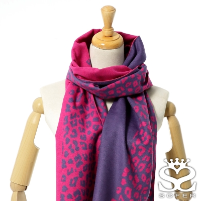 SOFER-玩美豹紋100-蠶絲圍巾-桃花紅