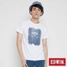 EDWIN LOGO牛仔印花短袖T恤-男-白色