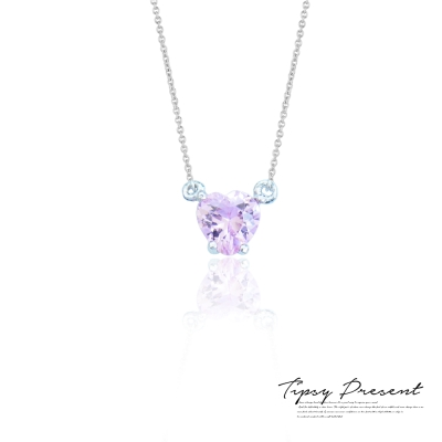 微醺禮物 項鍊 925銀 淡粉紫小愛心 項鍊 短鍊 頸鍊