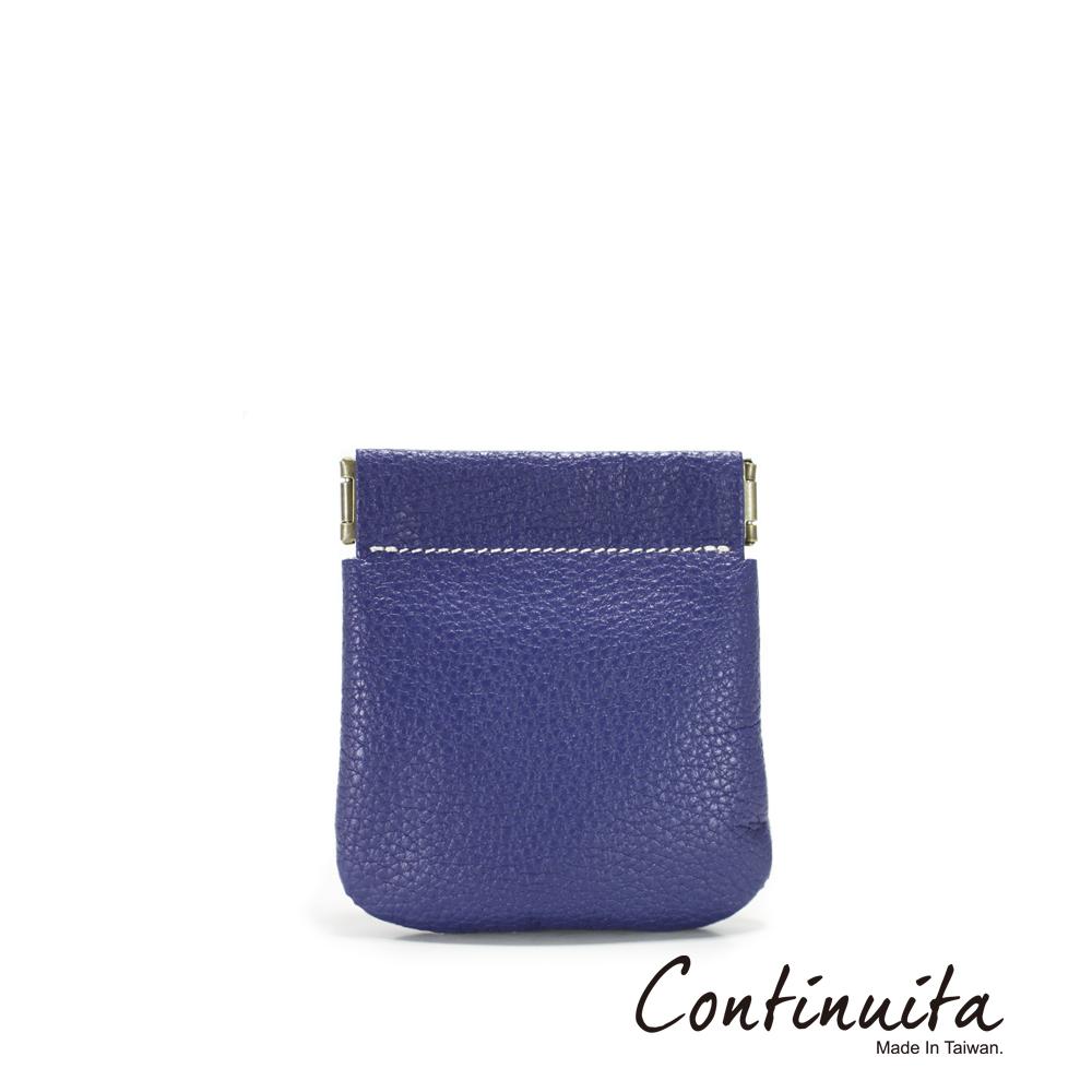 Continuita 康緹尼 MIT 頭層牛皮口袋零錢包 藍色