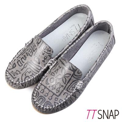 TTSNAP莫卡辛-MIT幸運圖騰壓紋豆豆鞋 灰