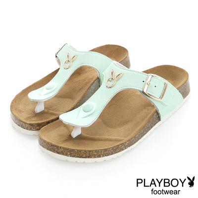 PLAYBOY 清新樣貌 可愛色系兔頭夾腳拖鞋-綠(女)