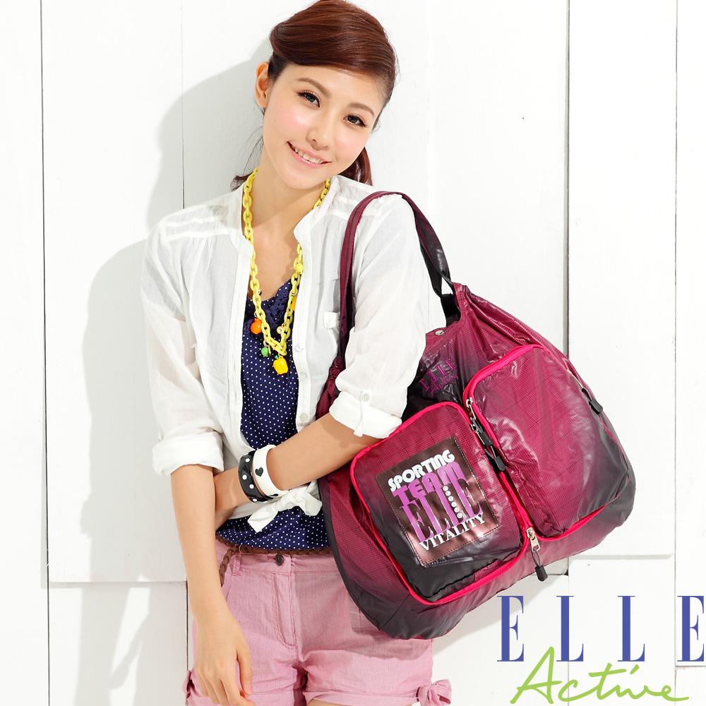 ELLE-Dance the graph系列-購物斜背雙用包(口袋)-紅黑色