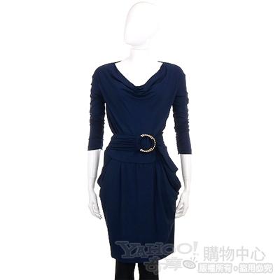 PAOLA FRANI 深藍色造型腰環飾洋裝