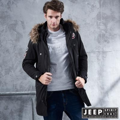 JEEP 冒險家造型軍裝長版外套 -黑