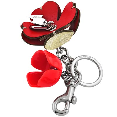 COACH 紅白雙色大C PVC立體花朵造型鑰匙圈掛飾