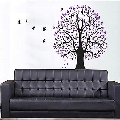 大尺寸高級創意壁貼 / 牆貼  花草系列-紫色夢想樹