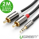 綠聯 3.5MM轉2RCA立體聲音源線 2M