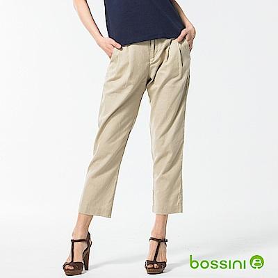 bossini女裝-休閒打摺棉麻長褲01淺卡其