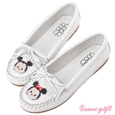 Disney collection by grace gift全真皮經典流蘇莫卡辛鞋 白