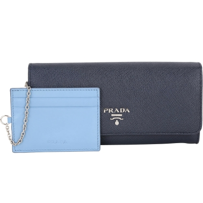 PRADA Saffiano 雙色拼接釦式長夾(附可拆式證夾/黑夜藍x水藍)
