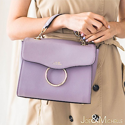 J&M 真皮蘿麗塔金屬環2WAY包  浪漫紫