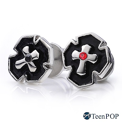 ATeenPOP 白鋼栓扣式耳環 單邊單個 聖潔盾牌