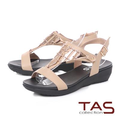 TAS 金屬造型質感T字涼鞋-淡雅米