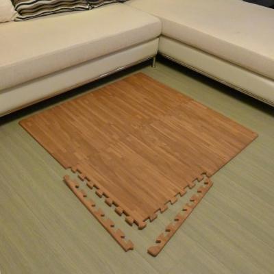 【新生活家】EVA耐磨拼花木紋地墊-深色附邊條45x45x1.2cm12入