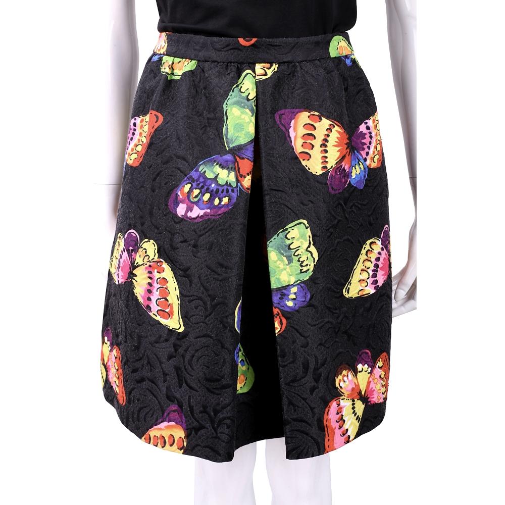 BOUTIQUE MOSCHINO 彩繪蝴蝶浮雕黑色抓褶圓裙