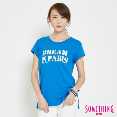 SOMETHING 巴黎夢想LOGOT恤-女-藍色