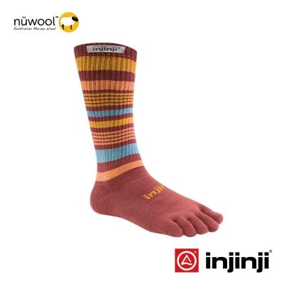 【Injinji】Outdoor戶外羊毛五趾中筒襪-深棕