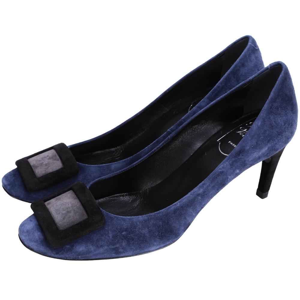 Roger Vivier Belle de Nuit 經典方框麂皮高跟鞋(深藍)